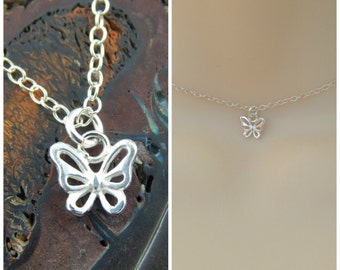 Sterling silver butterfly choker necklace, silver butterfly necklace, dainty butterfly necklace pendant.