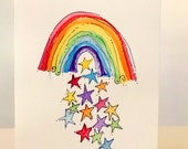 "Rainbow With Stars  Watercolor Original Card  ""Big Card"" 5x7 With Matching Envelope No Deckle betrueoriginals"