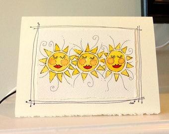 "Happy Sunshine  Watercolor Original Strathmore Card 5"""" x 6 7/8"" & Envelope Card Blank  betrueoriginals"