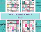 Planner Stickers 100 Images  April  Goals Dreams Inspiration Motivation   Life Planners Journals  Printable Spring Pink Aqua Duck Egg