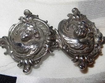 Art Nouveau Angel Cherub William B. Kerr Belt Buckle Sterling Silver Antique Collectible 1900
