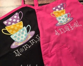 Mommy and Me Personalized Tea Party Apron - Tea Party Child Apron - Wonderland Party Apron - Smock - by Pocketbaby