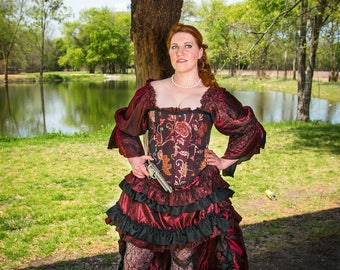 Fancy Burgundy and Black Shimmer Chemise, Steampunk, Victorian, Renaissance, Western, Dustpunk, Peasant Blouse, Pirate, Fairy