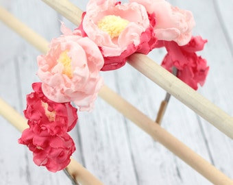 Bright coral and pink flower crown. Flower girl hair band. Wedding and music festival headband. Crown tiara  a012