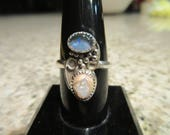 Sterling Silver Australian Black Opal and Mexican Jelly Opal Ring - Size 7 3/4