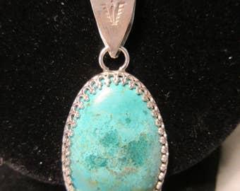 Sterling Silver Chrysocholla Necklace Pendant - GREEN GLAZE of GLORY