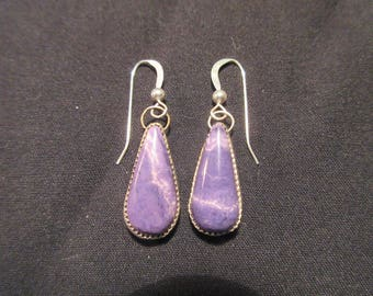 PURPLE POINT of PASSION - Sterling Silver Teardrop Tiffany Stone Earrings