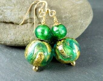 Green & Gold Murano Glass Dangle Earrings 14K Gold Filled Jewelry Venetian Glass Earrings Sparkling Earrings Shimmering Summer Beach Jewelry