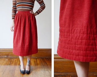 1970s Rust Corduroy Skirt with Pockets - XS
