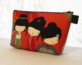 Kaori Kokeshi Fabric Large Cosmetic Bag Zipper Pouch Padded Makeup Bag Zip Pouch Alexander Henry Cute Japanese Geisha Kawaii Dolls Red Olive