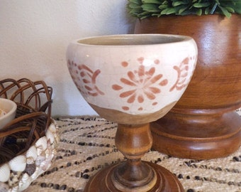 Upcycled Pottery Ring Dish ~ BOHO Bohemian Jungelow ~ Wooden Pedestal Aztec Print Pottery Dish