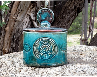 Hecate Wheel Raku Box Handmade Pottery
