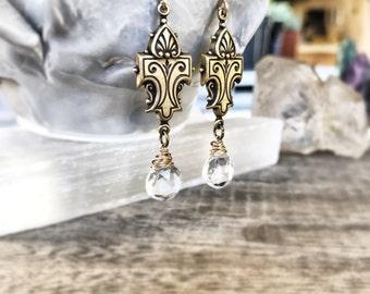 Floral Filigree Earrings, Gold Drop Earrings, Moonstone Earrings, Ornate Filigree Dangle,  Antiqued Brass Earrings, Moonstone Gemstone