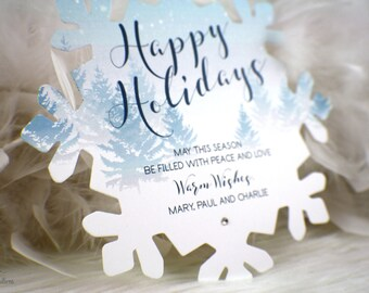 Snowflake Holiday Card  | Greetings | Merry Christmas | Happy Holidays | Blue | White | Snow | Winter | Crystal