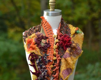 Long tattered patchwork Scarf, Wrap, Shawl/ Boho one of a kind unique accessory with felted flower, pom poms and fringes