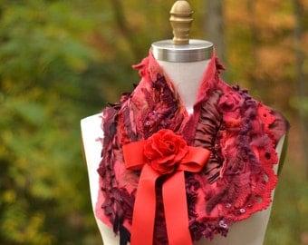 Red maroon Capelet/Bolero/ Shrug/ Refashioned boho accessory/