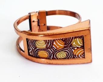 Modernist Matisse Bangle Bracelet, Vintage Matisse Renoir Modernist Enamel Copper FENESTRA Hinged Clamper Bracelet, Matisse Jewelry, MCM