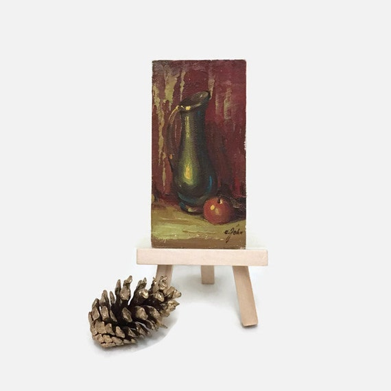 Vintage Miniature Oil Painting - Pitcher & Apple Still Life - Signed by the Artist - Tiny Painting on Board