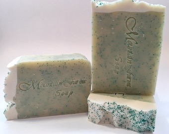 Rosemary Mint  Soap-Handmade-Cold Process-Neem Oil-Natural-Artisan-Luxurious-Soap-Exfoliating-Abbotsford-BC-Canada