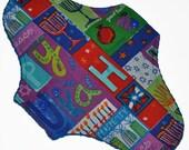 Moderate Hemp Core- Happy Hanukkah Reusable Cloth Maxi Pad- WindPro Fleece- 10 Inches (25.5 cm)