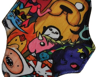 Light Core- Adventure Time Minky Reusable Cloth Pantyliner Pad- WindPro Fleece- 8.5 Inches