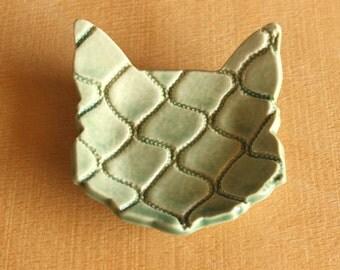 Ceramic CAT Ring Dish - Handmade Blue-Green Porcelain Fish Net Textured Cat Ring Dish - Tea Bag Holder - Ready To Ship