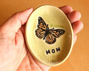 Ceramic BUTTERFLY Ring Dish - Handmade Small Oval Porcelain Monarch Butterfly MOM Ring Dish - Gift for Mom - Ready To Ship