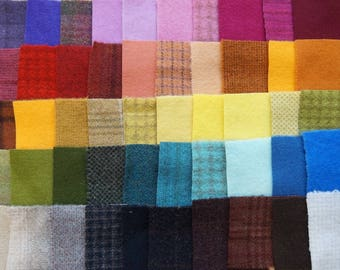 SALE Hand Dyed Felted Wool Scraps Bundle Number 1275 By Quilting Acres