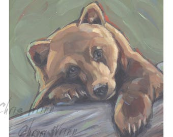 Bear Painting, Bear Cub Animal Art, 5x5 inches Wall Art or Countertop, Nature, Childs Room