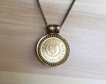 CYPRUS - One of a Kind 1998 Coin Necklace - Reversible