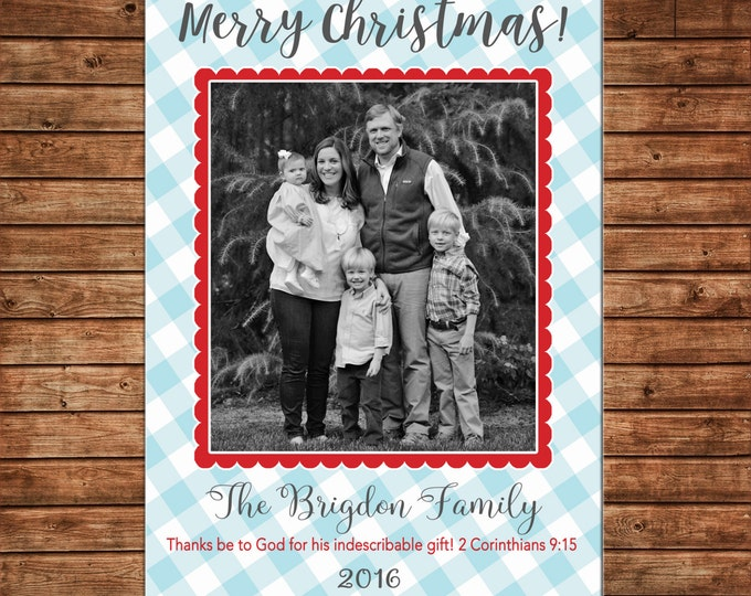 Christmas Holiday Photo Card Blue Gingham Check Scallop - Can Personalize - Printable File or Printed Cards