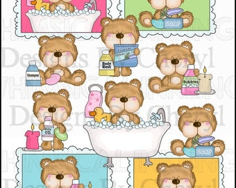 Fluffington Takes A Bath Clipart Collection - Immediate Download