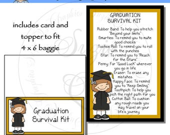 Graduation Survival Kit for a girl  - Digital Printable - Immediate Download