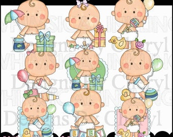 Sweet Baby Shower Clipart Collection - Immediate Download