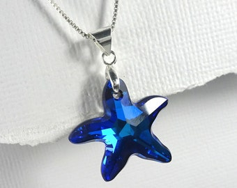 Swarovski Starfish Necklace, Swarovski Bermuda Blue Starfish  Necklace, Sea Star Necklace, Beach Wedding Necklace Bridesmaids' Gift Necklace