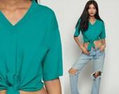 Cropped Tshirt 90s Crop Top Teal Green Shirt Tie Waist Grunge Vintage 1990s T Shirt Plain Retro Tee Short Sleeve Small