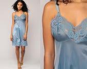 Blue Slip Dress 70s Mini LACE Sheer Lingerie Nylon Vintage 80s Empire Waist Spaghetti Strap Nightgown Medium