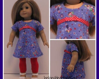 Blue Fairy Tri-City Knit Dress Red Leggings Fits 18 inch Doll