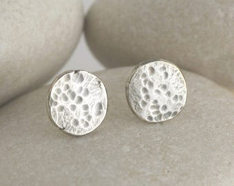 Harvest Moon Earrings in Silver, textured and hammered moon earrings