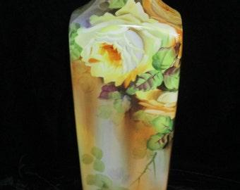 "Vintage Yellow Rose Vase  Nippon Large 14""    ~  Hand Painted Porcelain Vase  Beautiful Flower  Center Piece"