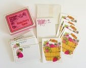 Vintage 1960s Stationary Set / 60s Current Strawberry Spree Kitchen Stationary / 60 Recipe Cards, Notepad, 8 Blank Cards with Envelopes
