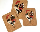 Vintage 1960s Kitchen Trivets / Hilde Bee Rooster Cork Hot Pad Set of 3 / 60s Early American Kitchenware Decor