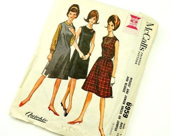 Shop Sale Vintage 1960s Womens Size 12 Dress or Jumper and Blouse McCalls Sewing Pattern 6959 / bust 32 waist 25 / Complete
