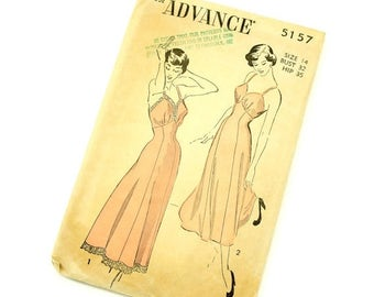 Shop Sale Vintage 1940s Womens Size 14 Full or Tea Length Slip Advance Sewing Pattern 5157 / bust 32 / Complete