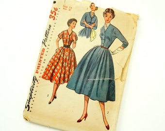 Shop Sale Vintage 1950s Womens Size 14 One Piece Day Dress Simplicity Sewing Pattern 4369 / bust 32 / Complete