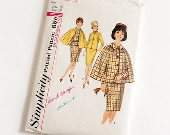 Vintage 1960s Womens Size 10 Skirt Suit and Cape Simplicity Sewing Pattern 5669 Complete / bust 31 waist 24