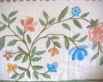 Cabin Crafts Floral Over Tufted Vintage Chenille Bedspread Fabric 18 x 24 Inches