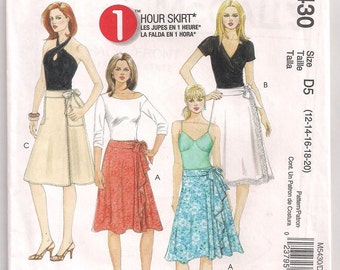 Adult Wrap Skirt McCalls 5430 Side Flounce 1 Hour Skirt Pattern 12 14 16 18 20 Uncut