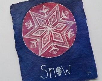 Star Snowflake in Purple - Small Original Watercolour Painting