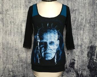 Hellraiser Women's T-Shirt // Reconstructed T-Shirt // Three Quarter Sleeve Top // Size Small // Pinhead Horror Gothic Alternative